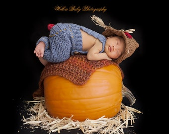 Crochet Scarecrow hat/fall hat and overalls - Newborn Size Only - Costume/Photo Prop