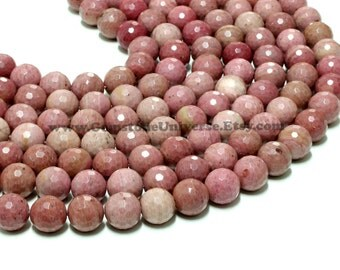 "GUB-2776-5 - Rhodonite Faceted Round Beads - 14mm - 16"" Strand"