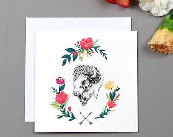 Floral Bison Greetings Card