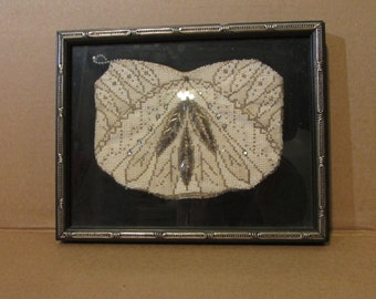 Beautiful 1930's Beaded Clutch Purse Framed for Display Wall Hanging Delicate
