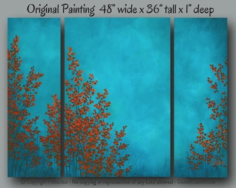 Birch tree painting Canvas wall art Wide large artwork Teal