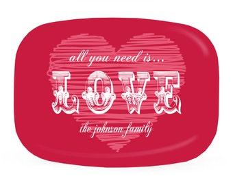 Valentine Personalized Melamine Platter