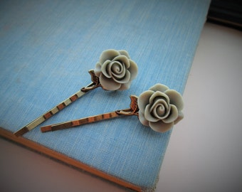 Vintage Inspired Dusty Sage Green Rose Hair Pin Set, Flowers, Antiqued Brass, Antiqued Bronze, Victorian Inspired