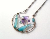 Butterfly bronze necklace, purple jewellery, boho jewelry, round pendant, wire wrapped, stained glass inspired