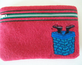 Small felt zippered pouch/purse.  Perfect to hold your cosmetics/ craft accessories etc.