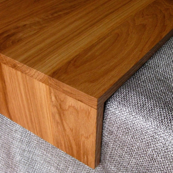 Reclaimed Wood Ottoman ~ Ottoman wrap tray reclaimed wood drink rest table for couch