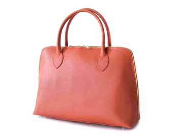 Handmade Tote Bag, Orange Italian Leather Purse, Designer Leather Handbag -.- the Haupu  -.- winter sale 30% off