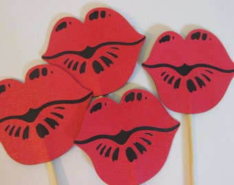 4 Lips on a sticks, Wedding photo props, photo booth props, 4 glittered red lips on sticks