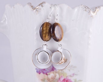 Sterling silver miniature tea cup earrings with golden shiny tigerseye stones, delicate teacup earrings, flowers, gold