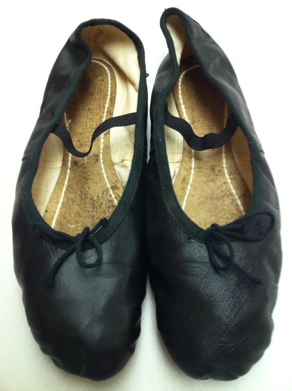 vintage leather ballet shoes slippers black by glorievintage