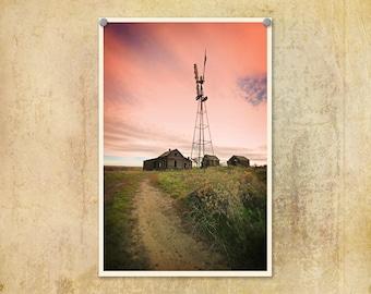 Landscape Photo Eastern Oregon Abandoned House Farm Windmill--Fine Art Lomography 8x12