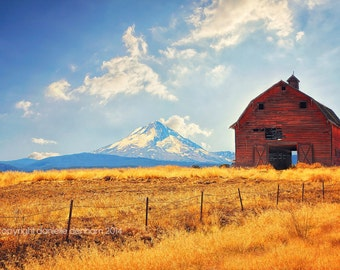 Landscape Photo Oregon Red Barn Mt. Hood Mountain Blue Yellow