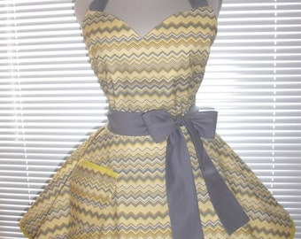 Retro Apron Yellow and Gray Chevron Circular Flirty Skirt