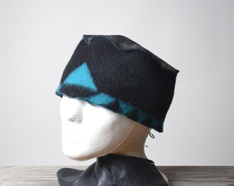 Leather and Wool Hat - Native American Inspired Hat - Southwest Wool Hats - OOAK