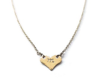 Gold Filled Hammered Initial Heart Necklace - Personalized Heart Necklace - Bridesmaid Gifts - Dainty Heart Necklace - Love Necklace