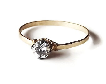 Hammered Gold Filled Swarovski Crystal Ring - Gold Ring - Stacking Rings - Wire Wrapped Crystal Band