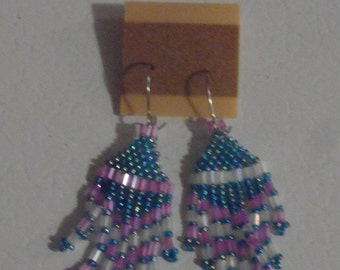 Pink, Blue, and White Seed bead Earrings!
