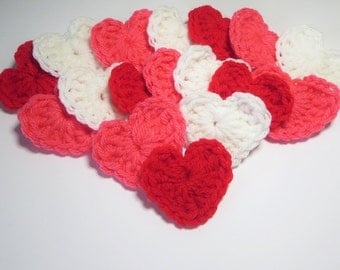 Crochet Heart Applique, Red White Pink, Granny Square Heart Starters, Bulk Sets, Heart Love Motif, Bowl Fillers, Gift Items, Ornaments