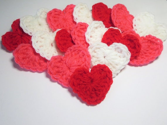 Crochet Heart Applique, Red White Pink, Granny Square Heart ...