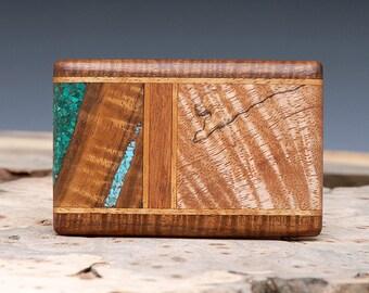 Exotic Wood, Turquoise and Malachite Inlaid Belt Buckle - Handmade with Curly Hawaiian Koa