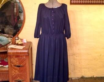 Gorgeous Indigo Peasant Folk Hippie Dress 70s L
