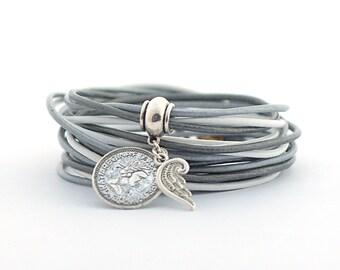 Glacier Gray Boho Wrap Bracelet, Gray Silver White Wrap Bracelet, Delicate Minimalist Jewelry, Christmas gift for her