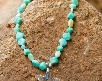 SALE - Swarovski Crystal and Peruvian Opal Necklace