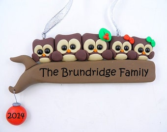 Family of Five Personalized Owl Christmas Ornament Polymer Clay