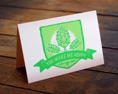 You Make me Hoppy - Card Blank Inside - 4x6 - Screen Print