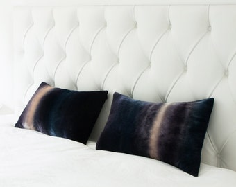Gray stripe velvet cushion/pillow cover, ombre LIMITED EDITION UK, Made to order.