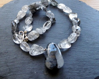 Tourmaline necklace, tourmaline necklace, silver, quartz, tourmaline, tourmaline drop