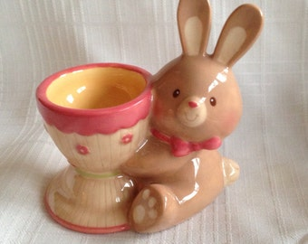 Vintage Home Decor/Serving: Bunny Easter Egg Display Dish/Statue by Russ from the 1990s