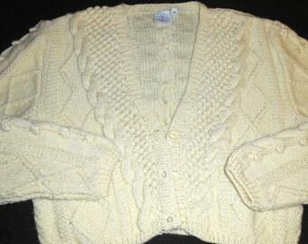 J.G.Hook Hand Knitted Crop Ecru Wool Sweater Cardigan Made In Uruguay( M)