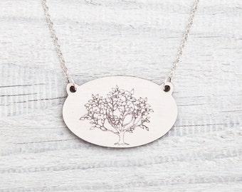 Wooden Tree Necklace White Pendant Girls Forest Necklace Jewelry Valentine's Day Gift Mother Day Gift