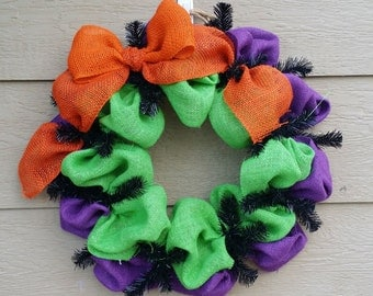 Burlap Halloween Wreath - Purple Green and Orange - Monster Mash