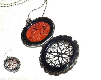 Shattered Rubies Mosaic Glass Locket Necklace
