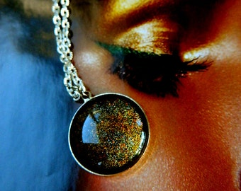 Arabian Night Orange glass opal pendant necklace (1 Necklace) Cabochon Glass pendant necklaces. Neo Classical Fantasy Jewelry