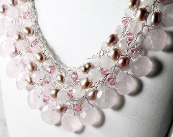 Rose Quartz Necklace, Silver Wire Crochet, rose gemstone, freshwater pearls, Swarovski crystals, statement, artisan, original, gift, 2824