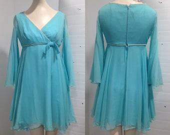 Aqua 1960s Chiffon Party Dress