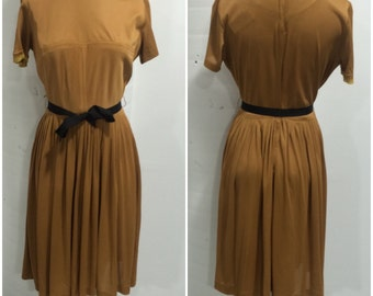 1950s Tan/Mustard Day Dress