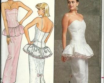VTG Kathryn Conover Peplum Special Occasion Dress Pattern, Butterick 4904, Misses / Miss Petite 6-10 & 12-16 UNCUT