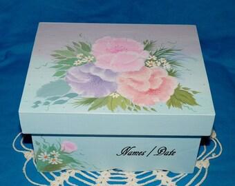 Elegant Romantic Shabby Chic Wooden Card Box Personalized Box Advice For The Bride Wedding Anniversary Love Letter Memory Box Blue