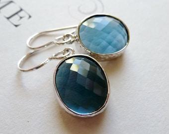 Sapphire Blue Faceted Glass Bezel Earrings / Dangle Earrings / SimplyJoli / Blue Oval Earrings