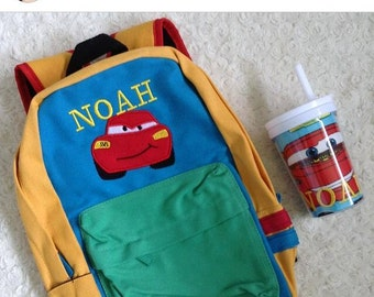 Personalised Lighting Mcqueen inspred a Blue yellow green Backpack for Toddler