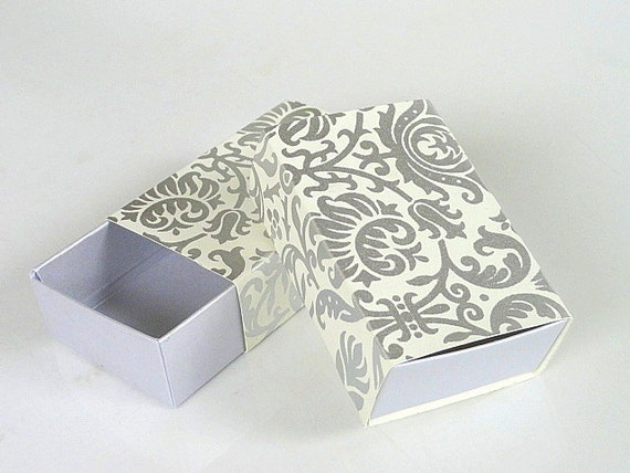 Damask Wedding Favor Boxes : Damask gift box in ivory and silver print favor