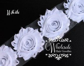 Shabby Flowers - WHITE Shabby Rose Trim - Shabby Chic - Shabby Flower Trim - DIY Flowers