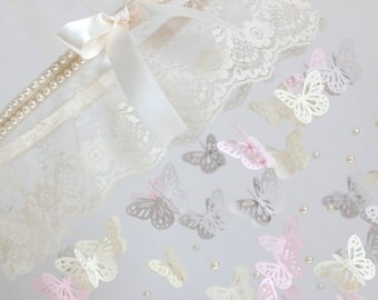 Lace Nursery Mobile- Lace Pearl & Butterfly Nursery Mobile- Pink, Gray, Ivory Girl Nursery Décor, Baby Shower Gift