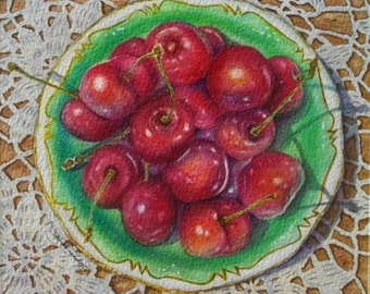 Fruit Painting Cherries On Lace Giclee Art Print