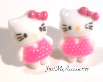 Cute, Kawaii Kitty Cat Wearing a Pink Dress And Bow Post Earrings