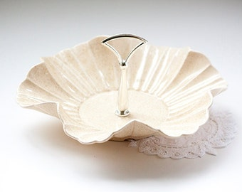 Vintage Ivory Ruffled Bon Bon or Serving Tray With Handle